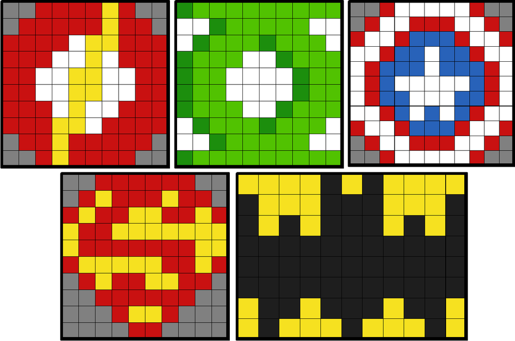 DC Superhero Logos (5 Solo Mosaics in each of the versions)