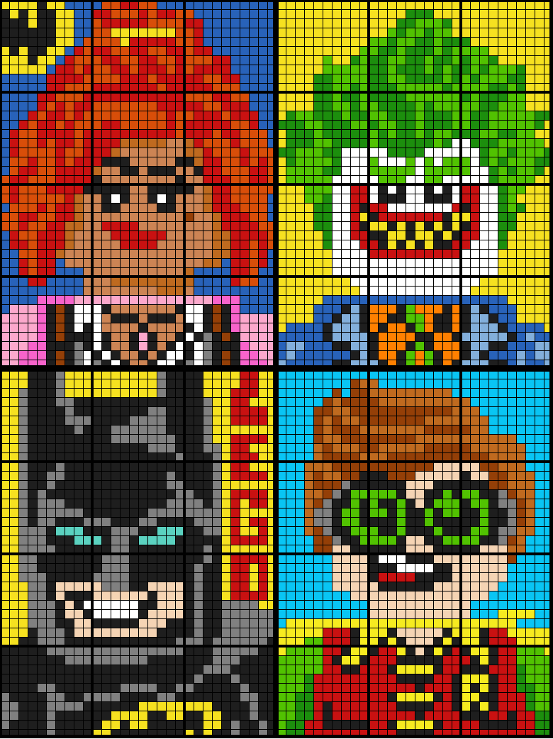 Colouring by Ratio Applications, Lego Batman BUNDLE (Four 12-Sheet Mosaics)