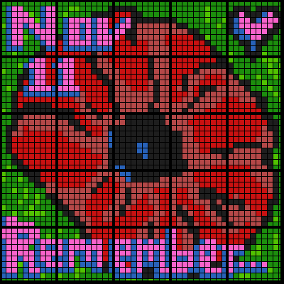 (5 Version Bundle) Remembrance Day Poppy - Colouring by Number and Ranges (25 Sheet Mosaics)