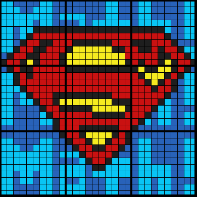 Superman Logo, 9 sheet mosaic (2 versions)